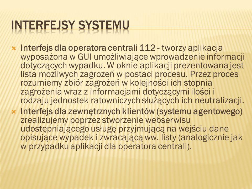 Interfejs dla operatora centrali 112 - tworzy aplikacja wyposażona w GUI umożliwiające wprowadzenie informacji dotyczących wypadku. W oknie aplikacji