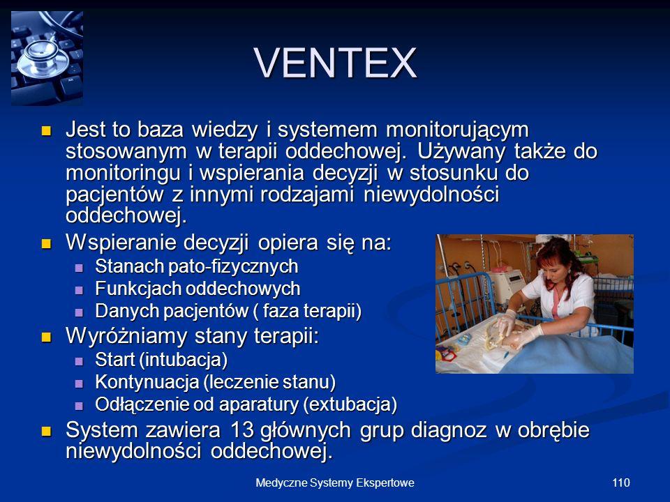 110Medyczne Systemy Ekspertowe VENTEX Jest to baza wiedzy i systemem monitorującym stosowanym w terapii oddechowej. Używany także do monitoringu i wsp