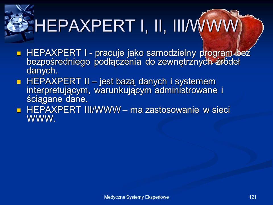 121Medyczne Systemy Ekspertowe HEPAXPERT I, II, III/WWW HEPAXPERT I - pracuje jako samodzielny program bez bezpośredniego podłączenia do zewnętrznych