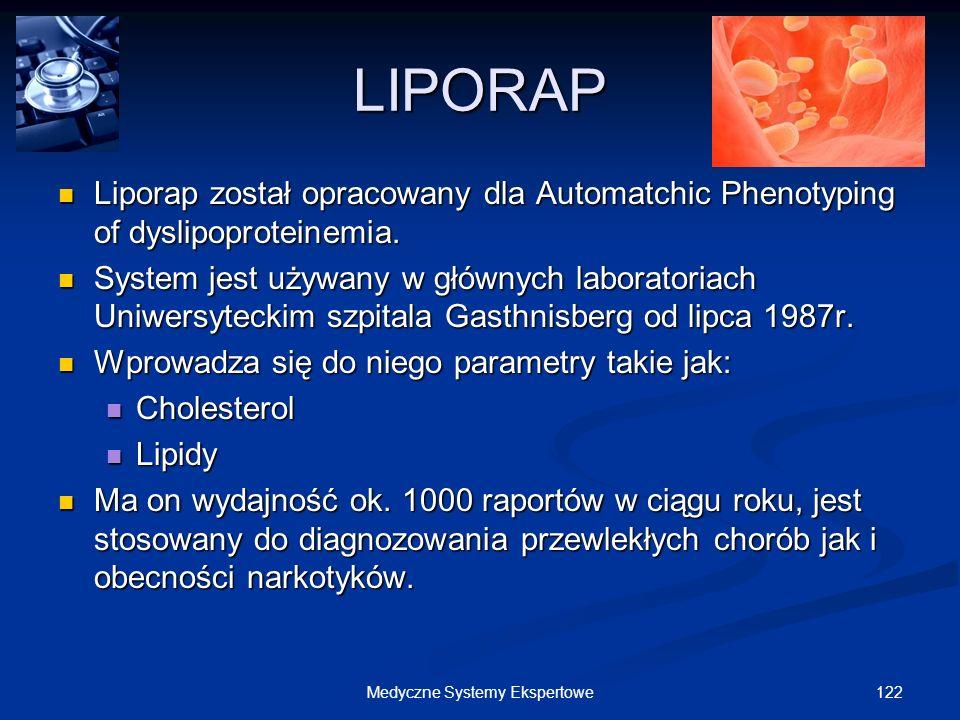 122Medyczne Systemy Ekspertowe LIPORAP Liporap został opracowany dla Automatchic Phenotyping of dyslipoproteinemia. Liporap został opracowany dla Auto