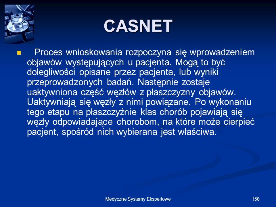 158Medyczne Systemy Ekspertowe Proces wnioskowania rozpoczyna się wprowadzeniem objawów występujących u pacjenta. Mogą to być dolegliwości opisane prz
