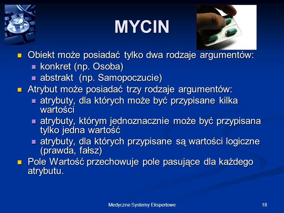 18Medyczne Systemy Ekspertowe Obiekt może posiadać tylko dwa rodzaje argumentów: Obiekt może posiadać tylko dwa rodzaje argumentów: konkret (np. Osoba