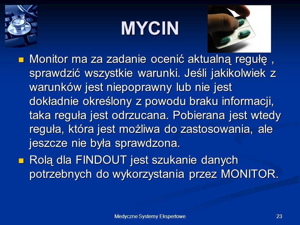 23Medyczne Systemy Ekspertowe Monitor ma za zadanie ocenić aktualną regułę, sprawdzić wszystkie warunki. Jeśli jakikolwiek z warunków jest niepoprawny