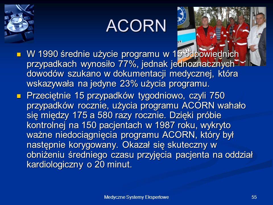 55Medyczne Systemy Ekspertowe ACORN W 1990 średnie użycie programu w 15 odpowiednich przypadkach wynosiło 77%, jednak jednoznacznych dowodów szukano w