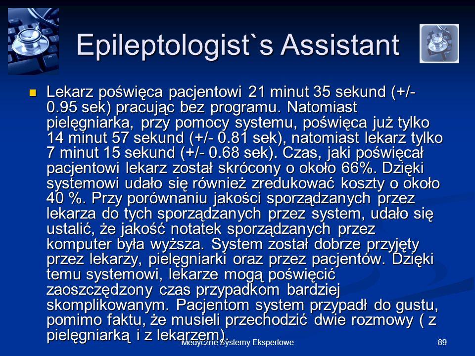 89Medyczne Systemy Ekspertowe Epileptologist`s Assistant Lekarz poświęca pacjentowi 21 minut 35 sekund (+/- 0.95 sek) pracując bez programu. Natomiast