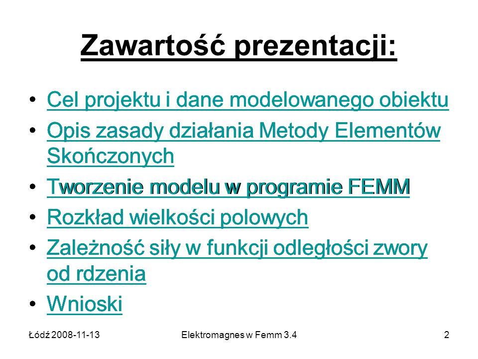 Łódź 2008-11-13Elektromagnes w Femm 3.42 Zawartość prezentacji: Cel projektu i dane modelowanego obiektu Opis zasady działania Metody Elementów Skończ