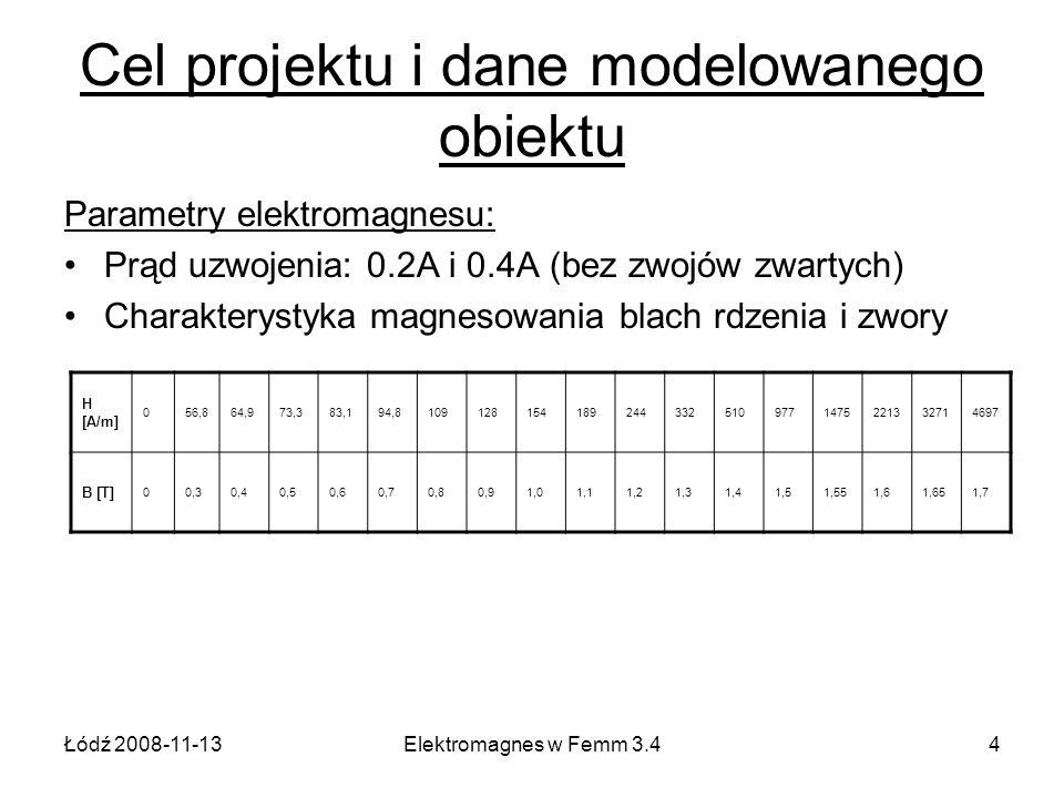 Łódź 2008-11-13Elektromagnes w Femm 3.44 Cel projektu i dane modelowanego obiektu Parametry elektromagnesu: Prąd uzwojenia: 0.2A i 0.4A (bez zwojów zw