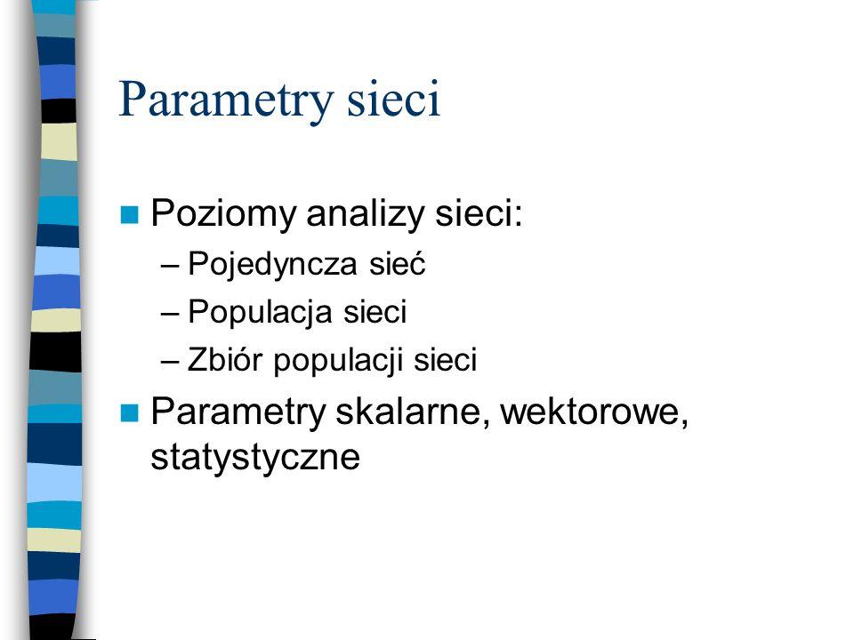 Parametry sieci Poziomy analizy sieci: –Pojedyncza sieć –Populacja sieci –Zbiór populacji sieci Parametry skalarne, wektorowe, statystyczne