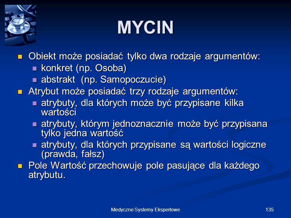 135Medyczne Systemy Ekspertowe Obiekt może posiadać tylko dwa rodzaje argumentów: Obiekt może posiadać tylko dwa rodzaje argumentów: konkret (np. Osob