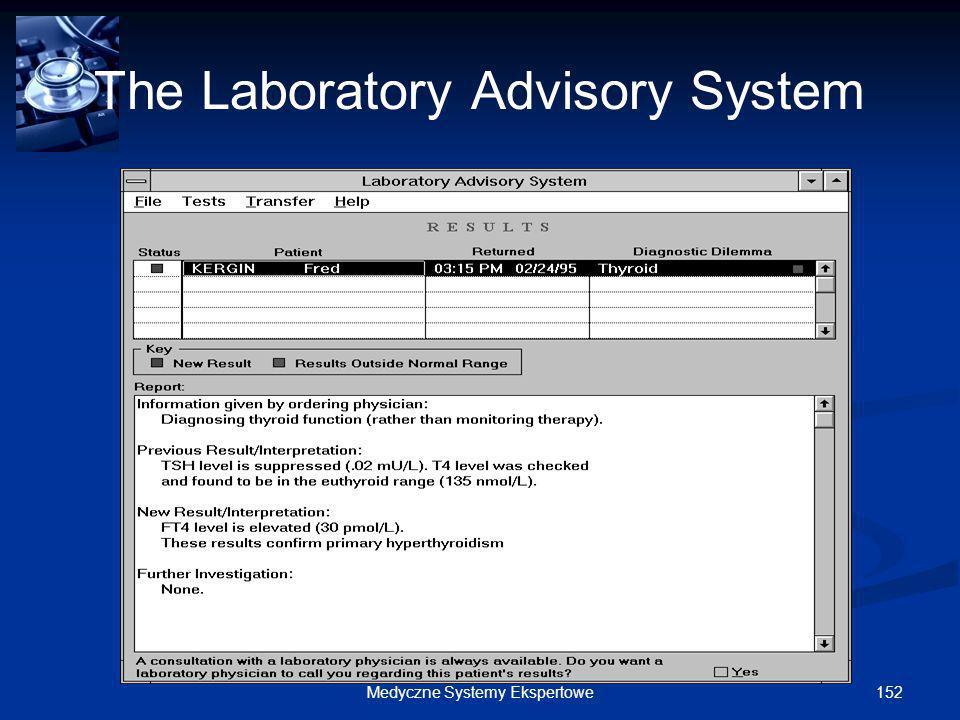 152Medyczne Systemy Ekspertowe The Laboratory Advisory System