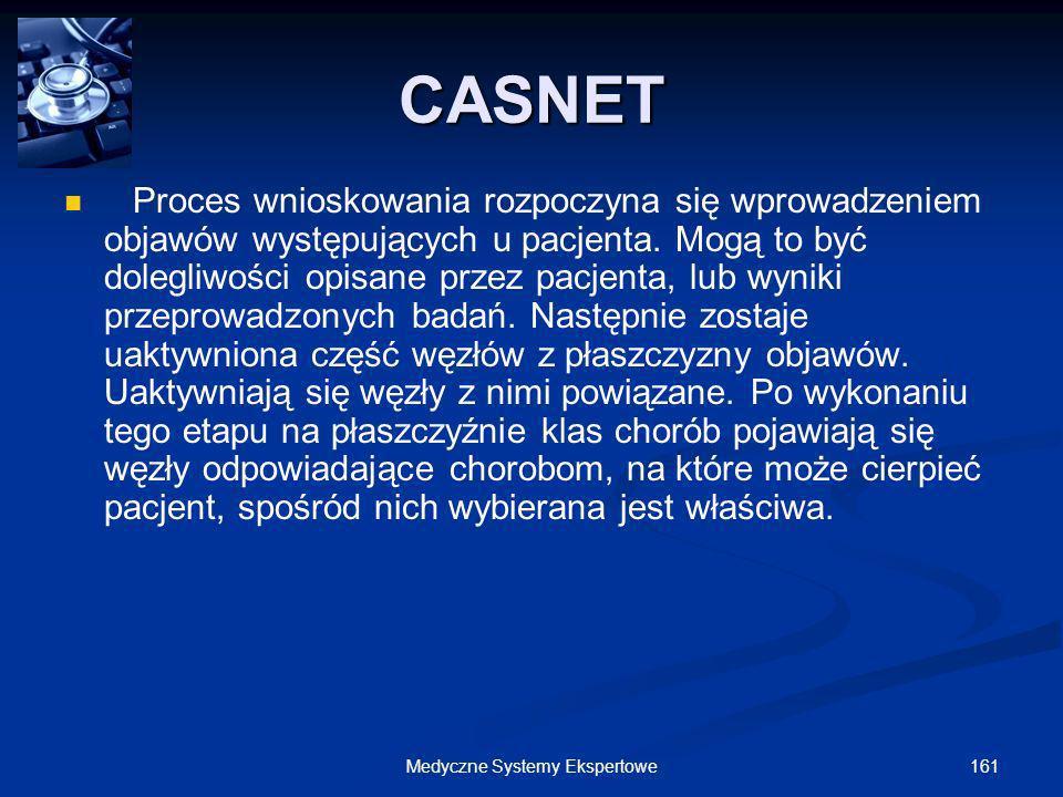 161Medyczne Systemy Ekspertowe Proces wnioskowania rozpoczyna się wprowadzeniem objawów występujących u pacjenta. Mogą to być dolegliwości opisane prz