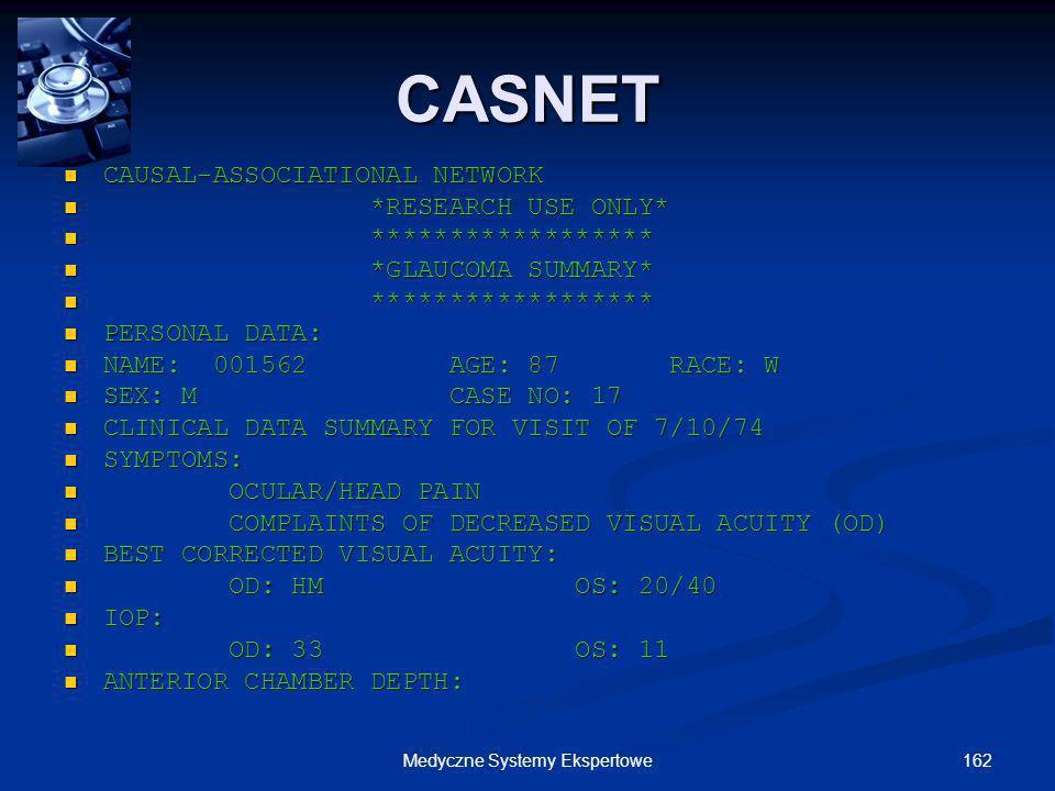 162Medyczne Systemy Ekspertowe CAUSAL-ASSOCIATIONAL NETWORK CAUSAL-ASSOCIATIONAL NETWORK *RESEARCH USE ONLY* *RESEARCH USE ONLY* ****************** **
