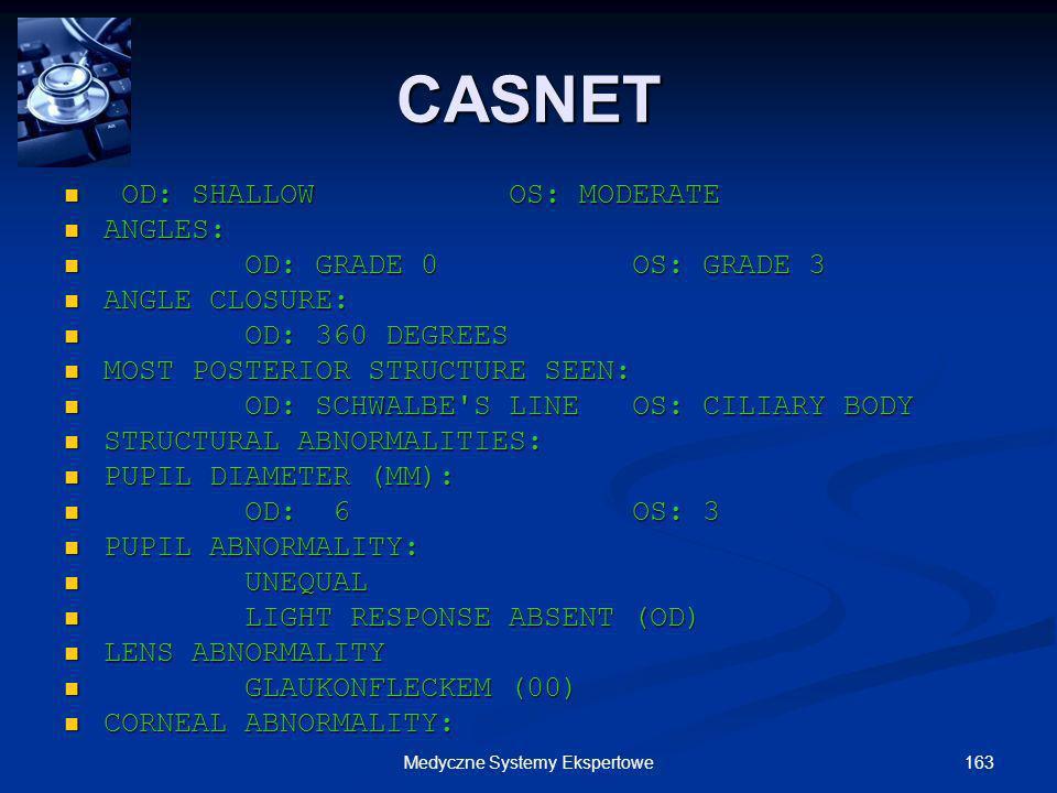 163Medyczne Systemy Ekspertowe OD: SHALLOW OS: MODERATE OD: SHALLOW OS: MODERATE ANGLES: ANGLES: OD: GRADE 0 OS: GRADE 3 OD: GRADE 0 OS: GRADE 3 ANGLE