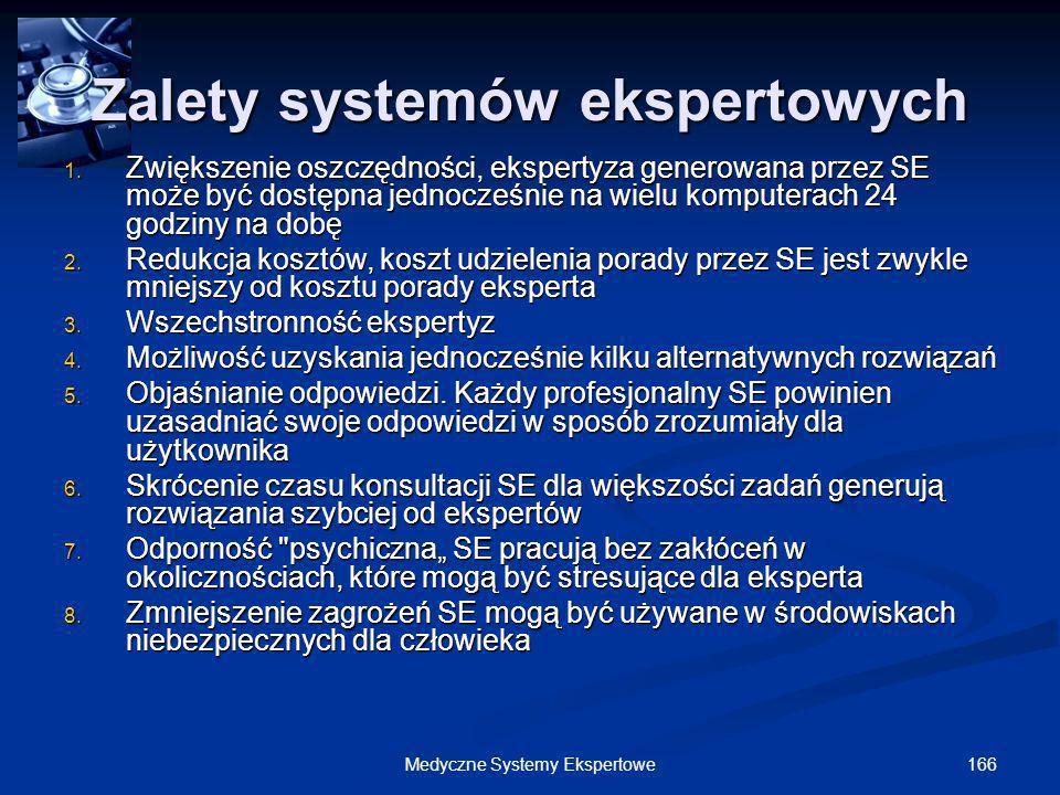 166Medyczne Systemy Ekspertowe 1. Zwiększenie oszczędności, ekspertyza generowana przez SE może być dostępna jednocześnie na wielu komputerach 24 godz