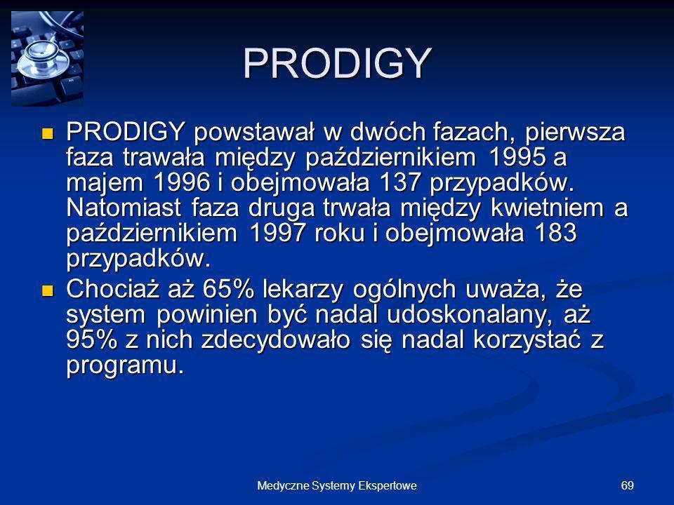 69Medyczne Systemy Ekspertowe PRODIGY PRODIGY powstawał w dwóch fazach, pierwsza faza trawała między październikiem 1995 a majem 1996 i obejmowała 137