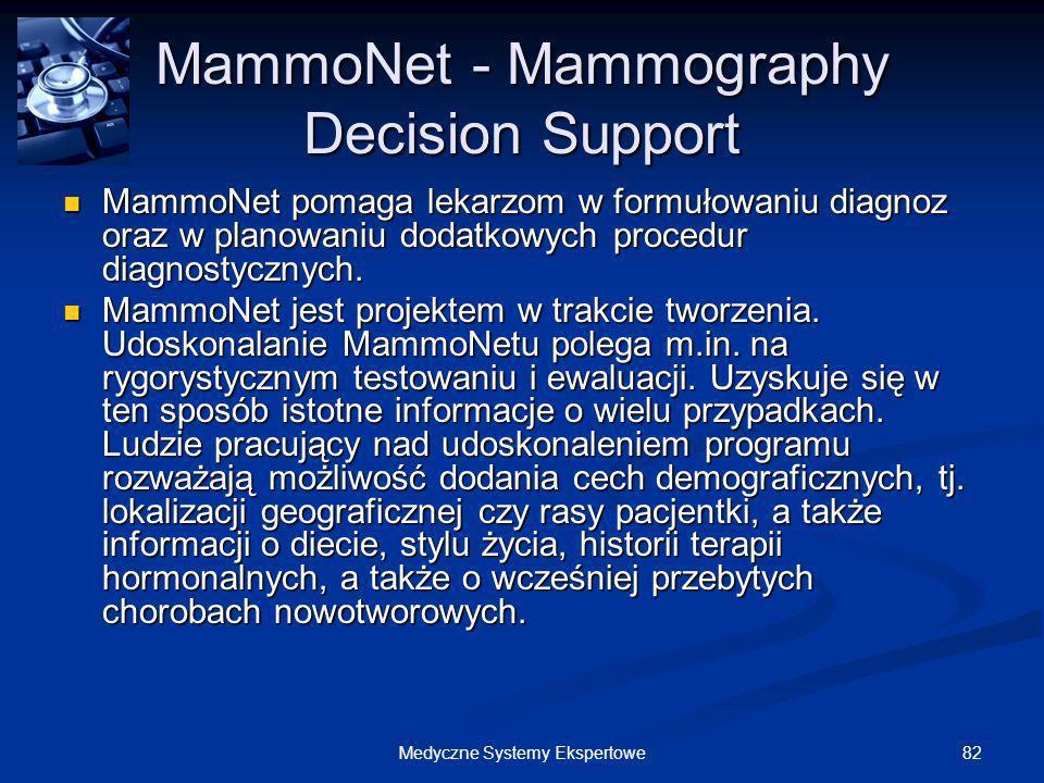 82Medyczne Systemy Ekspertowe MammoNet - Mammography Decision Support MammoNet pomaga lekarzom w formułowaniu diagnoz oraz w planowaniu dodatkowych pr