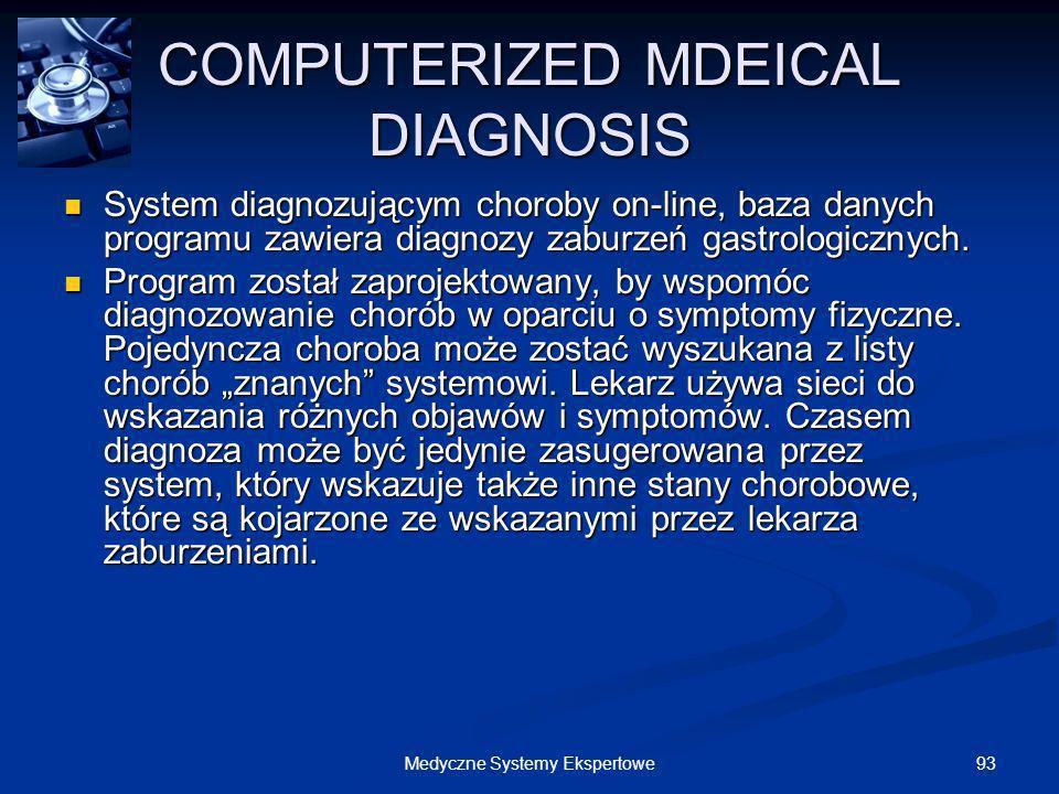 93Medyczne Systemy Ekspertowe COMPUTERIZED MDEICAL DIAGNOSIS System diagnozującym choroby on-line, baza danych programu zawiera diagnozy zaburzeń gast