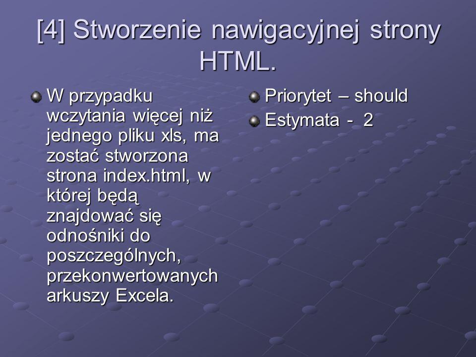 [4] Stworzenie nawigacyjnej strony HTML. W przypadku wczytania więcej niż jednego pliku xls, ma zostać stworzona strona index.html, w której będą znaj