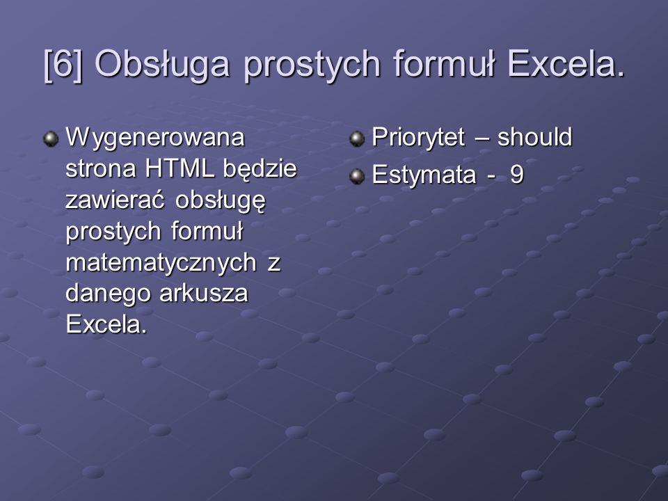 [6] Obsługa prostych formuł Excela. Wygenerowana strona HTML będzie zawierać obsługę prostych formuł matematycznych z danego arkusza Excela. Priorytet