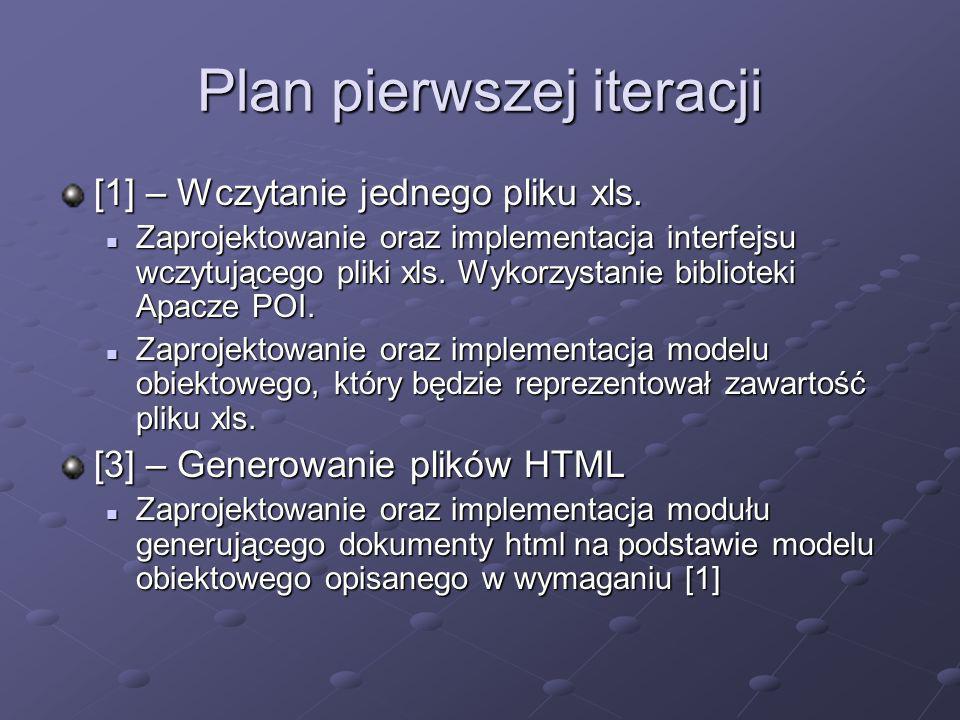 Plan pierwszej iteracji [1] – Wczytanie jednego pliku xls. Zaprojektowanie oraz implementacja interfejsu wczytującego pliki xls. Wykorzystanie bibliot