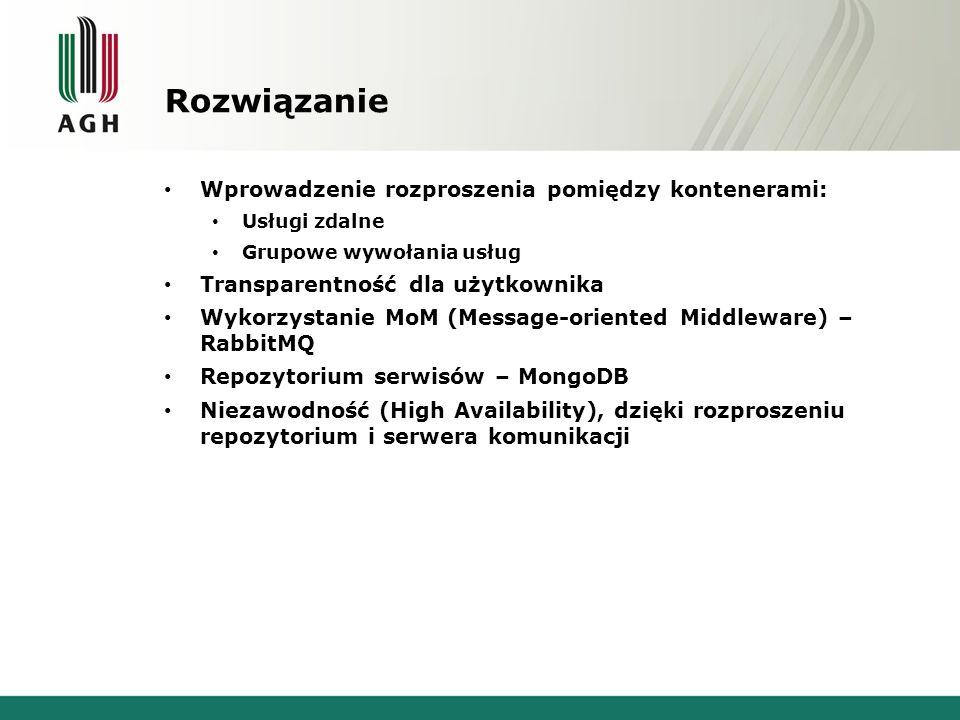 Rozwiązanie Wprowadzenie rozproszenia pomiędzy kontenerami: Usługi zdalne Grupowe wywołania usług Transparentność dla użytkownika Wykorzystanie MoM (M