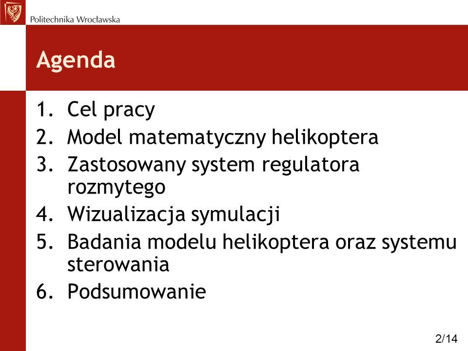 Agenda 1.Cel pracy 2.Model matematyczny helikoptera 3.Zastosowany system regulatora rozmytego 4.Wizualizacja symulacji 5.Badania modelu helikoptera or