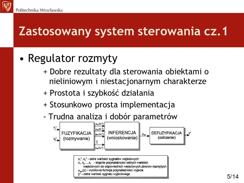 Zastosowany system autopilota cz.2 Stan helikoptera (U, V, W, P, Q, R) Sygnał sterujący ( 0, 1, 2, s0 ) Schemat regulatora: 6/14