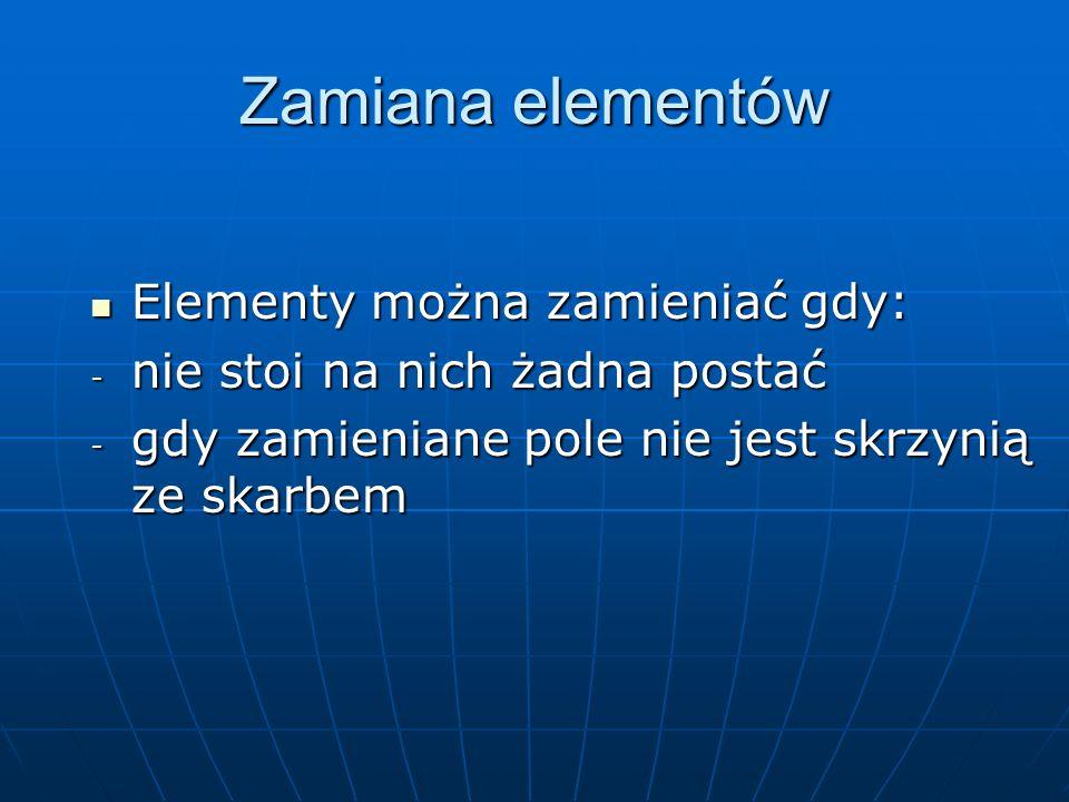 Zamiana elementów Elementy można zamieniać gdy: Elementy można zamieniać gdy: - nie stoi na nich żadna postać - gdy zamieniane pole nie jest skrzynią ze skarbem