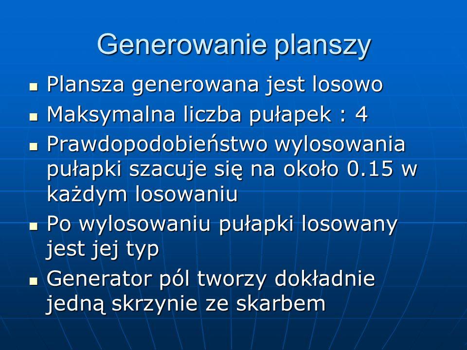 Generowanie planszy Plansza generowana jest losowo Plansza generowana jest losowo Maksymalna liczba pułapek : 4 Maksymalna liczba pułapek : 4 Prawdopo