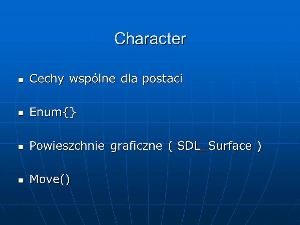 Character Cechy wspólne dla postaci Cechy wspólne dla postaci Enum{} Enum{} Powieszchnie graficzne ( SDL_Surface ) Powieszchnie graficzne ( SDL_Surface ) Move() Move()