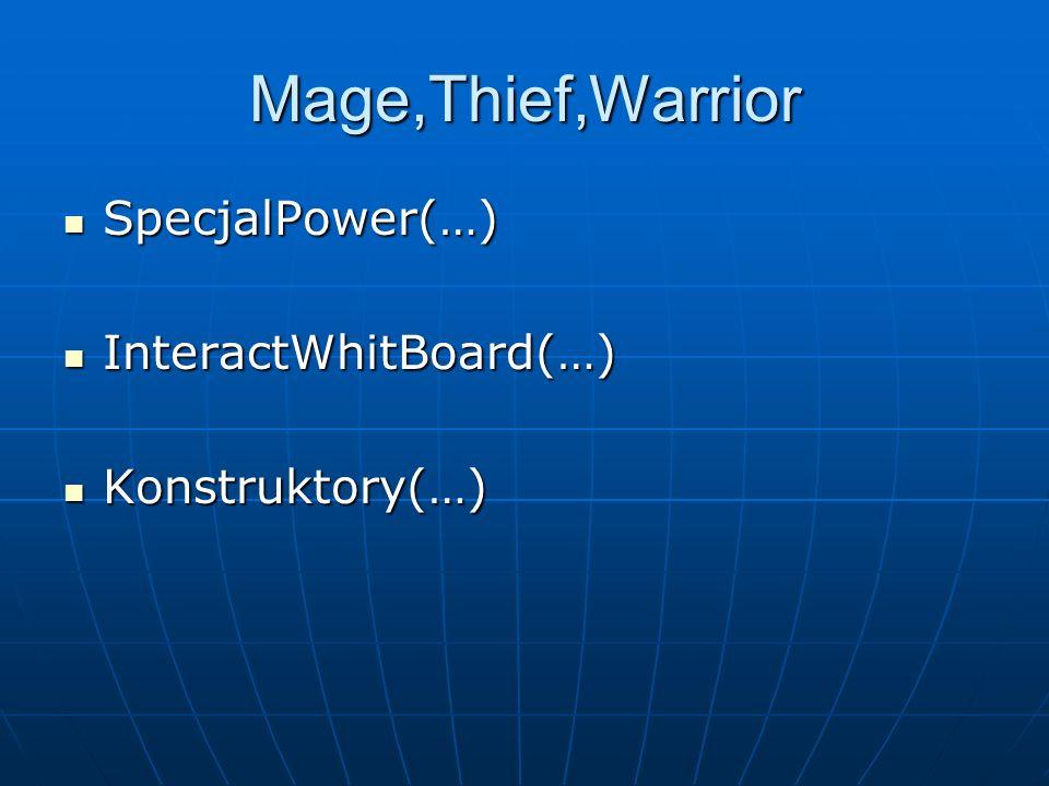 Mage,Thief,Warrior SpecjalPower(…) SpecjalPower(…) InteractWhitBoard(…) InteractWhitBoard(…) Konstruktory(…) Konstruktory(…)