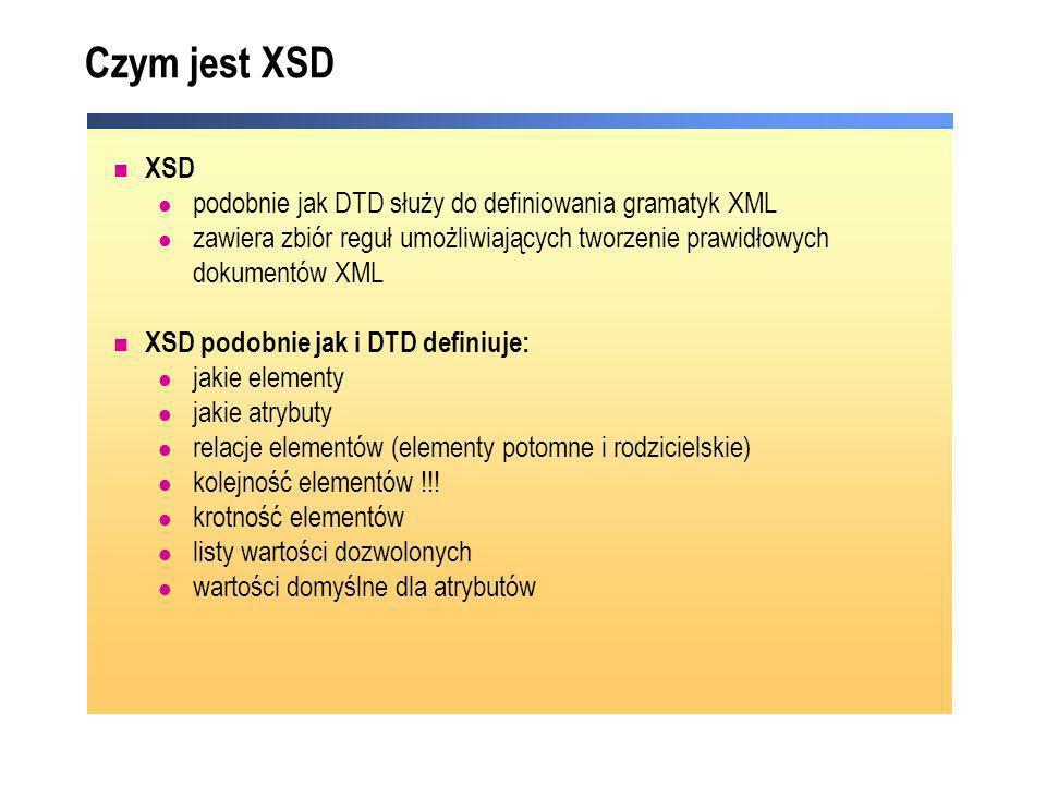 Czym jest XSD XSD podobnie jak DTD służy do definiowania gramatyk XML zawiera zbiór reguł umożliwiających tworzenie prawidłowych dokumentów XML XSD po