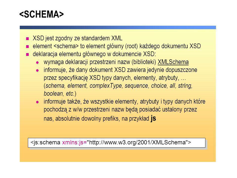 XSD jest zgodny ze standardem XML element to element główny (root) każdego dokumentu XSD deklaracja elementu głównego w dokumencie XSD: wymaga deklara