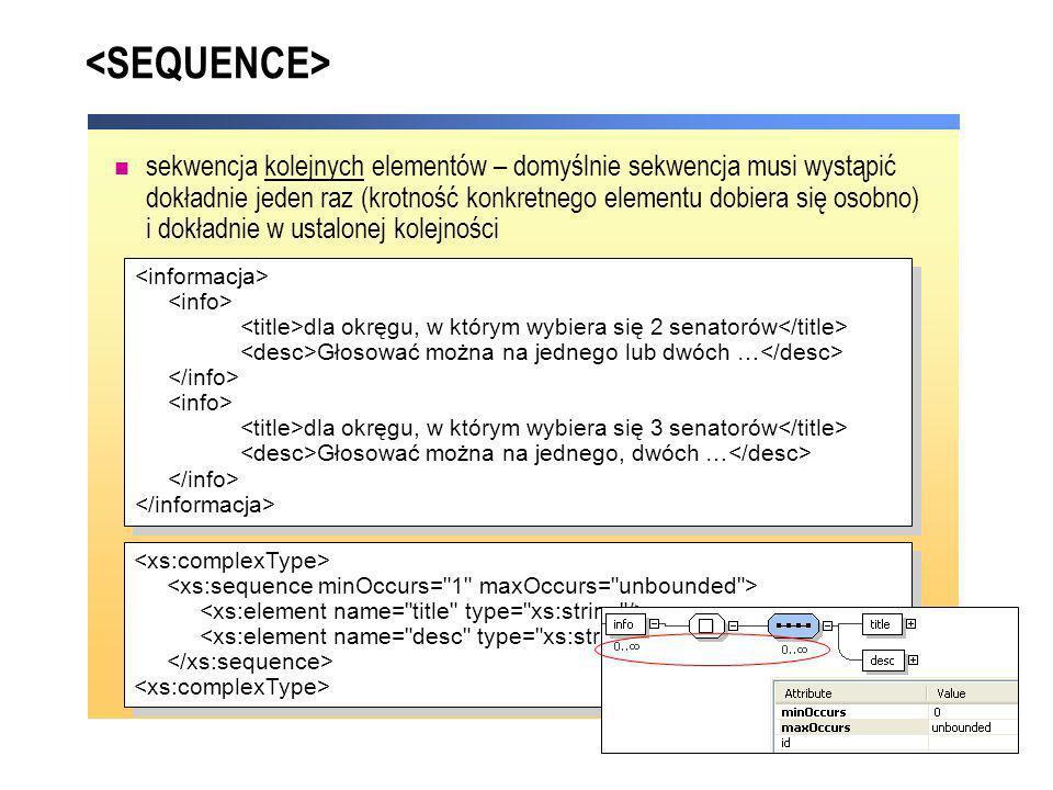 sekwencja kolejnych elementów – domyślnie sekwencja musi wystąpić dokładnie jeden raz (krotność konkretnego elementu dobiera się osobno) i dokładnie w