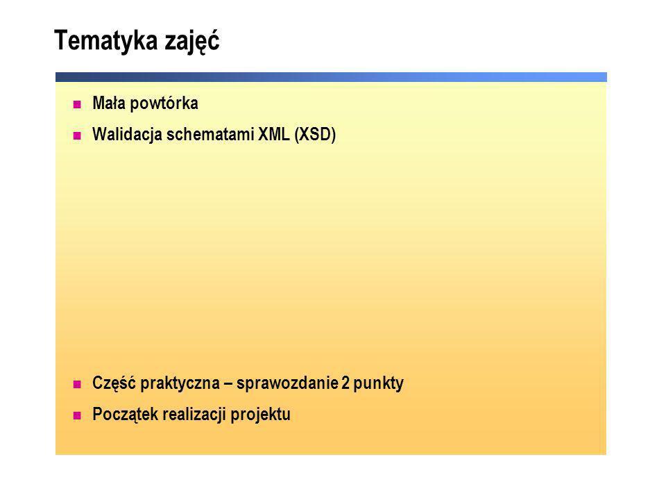 Tematyka zajęć Mała powtórka Walidacja schematami XML (XSD) Część praktyczna – sprawozdanie 2 punkty Początek realizacji projektu