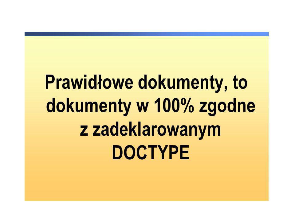 Prawidłowe dokumenty, to dokumenty w 100% zgodne z zadeklarowanym DOCTYPE