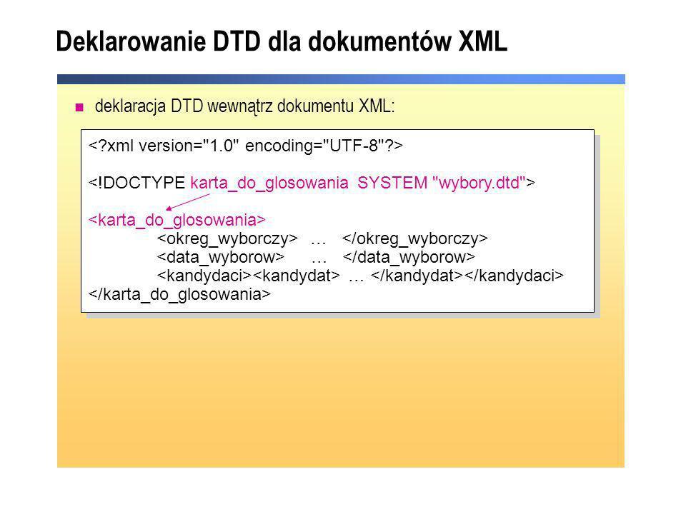 Typy elementów XSD (porównanie z DTD) CHILDREN (dzieci lub atrybuty = complex ) DATA (tylko dane = simple ) DATA (dane + coś = complex mix ) MIXED (dane + coś = complex mix ) EMPTY (bez danych = complex ) … … 2007-10-21 Warszawa 12 Warszawa 12 Jan Dzik