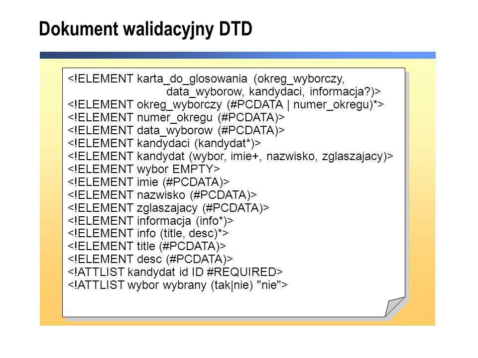 Dokument walidacyjny DTD <!ELEMENT karta_do_glosowania (okreg_wyborczy, data_wyborow, kandydaci, informacja?)> <!ELEMENT karta_do_glosowania (okreg_wy