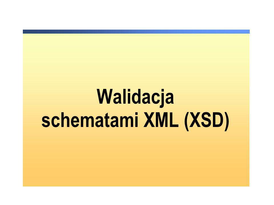 Deklarowanie XSD dla dokumentów XML deklaracja dokumentu XSD: <karta_do_glosowania xmlns:xsi=http://www.w3.org/2001/XMLSchema-instance xsi:noNamespaceSchemaLocation= the best senat.xsd > … <karta_do_glosowania xmlns:xsi=http://www.w3.org/2001/XMLSchema-instance xsi:noNamespaceSchemaLocation= the best senat.xsd > …