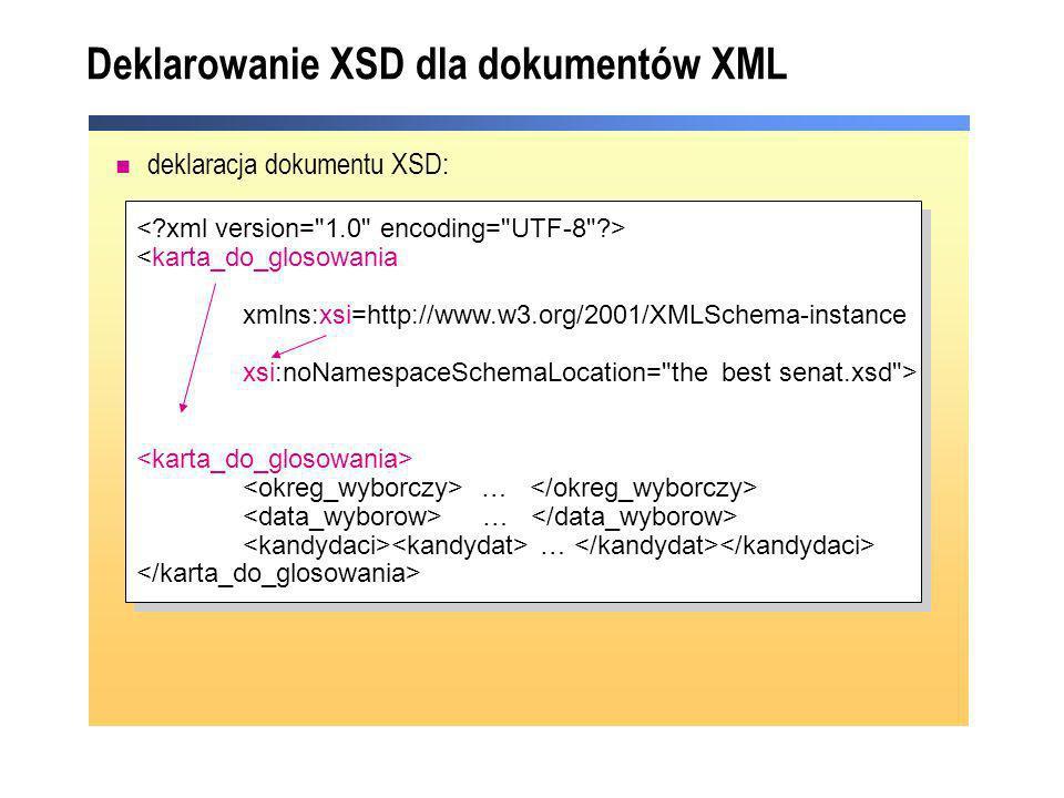 Deklarowanie XSD dla dokumentów XML deklaracja dokumentu XSD: <karta_do_glosowania xmlns:xsi=http://www.w3.org/2001/XMLSchema-instance xsi:noNamespace