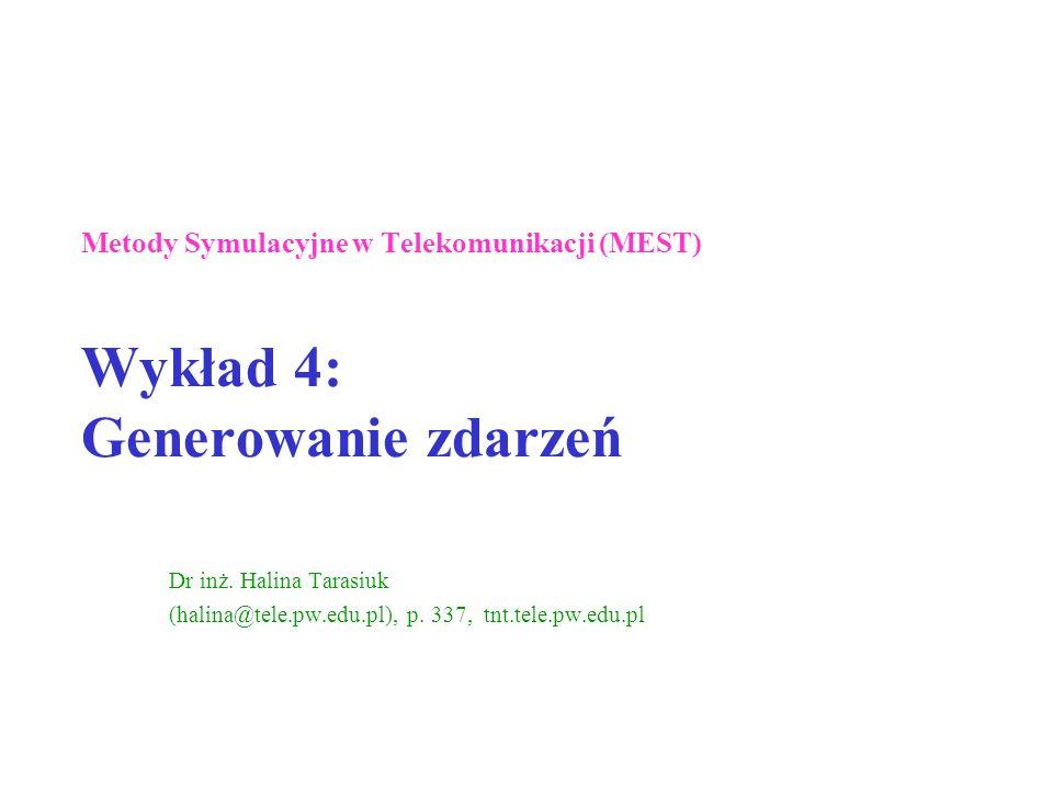 Metody Symulacyjne w Telekomunikacji (MEST) Wykład 4: Generowanie zdarzeń Dr inż. Halina Tarasiuk (halina@tele.pw.edu.pl), p. 337, tnt.tele.pw.edu.pl