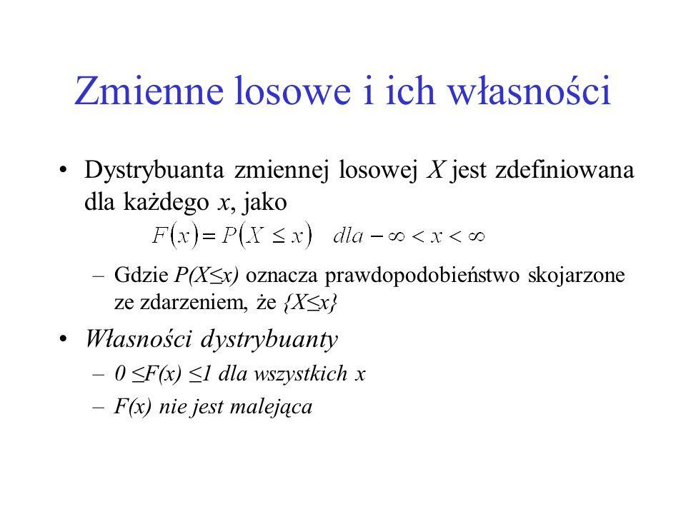 Zmienne losowe i ich własności Dystrybuanta zmiennej losowej X jest zdefiniowana dla każdego x, jako –Gdzie P(Xx) oznacza prawdopodobieństwo skojarzon
