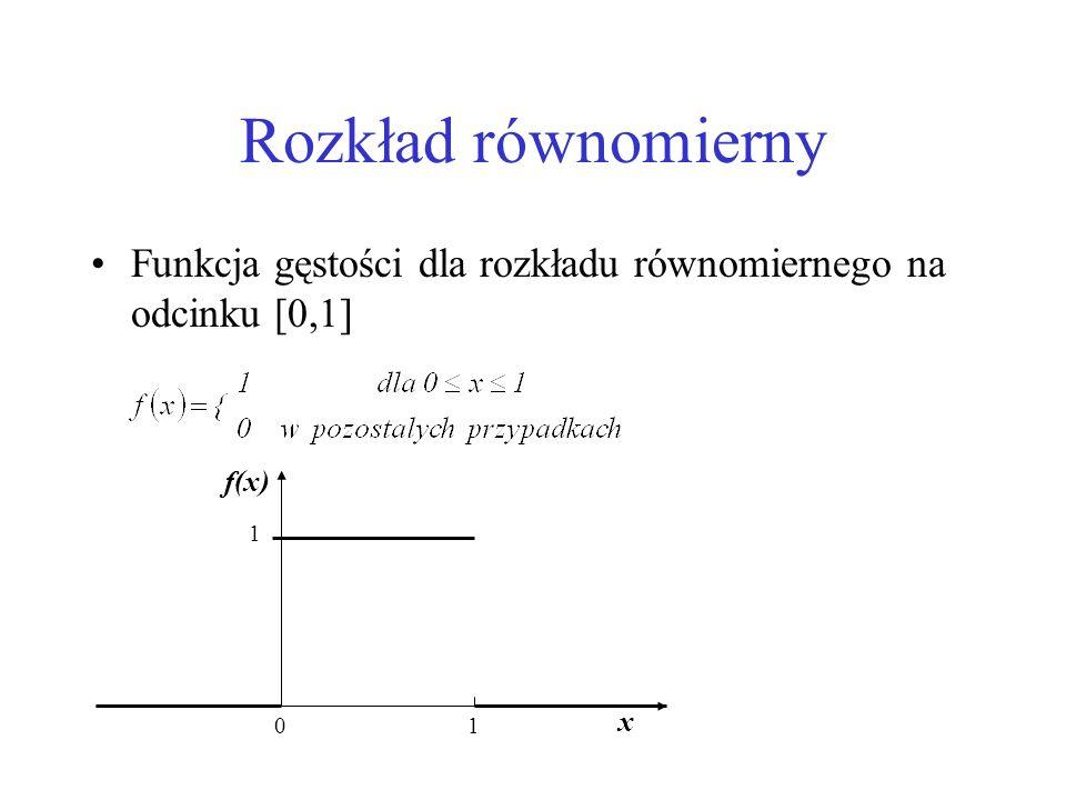 Rozkład równomierny Funkcja gęstości dla rozkładu równomiernego na odcinku [0,1] 01 1 x f(x)