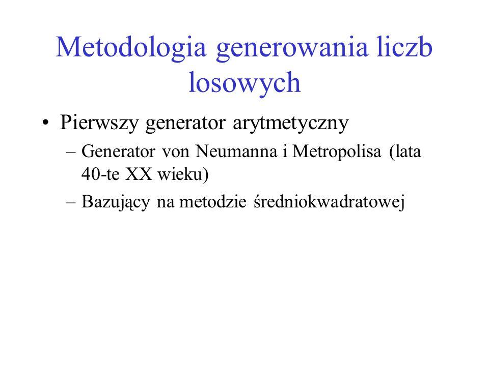 Metodologia generowania liczb losowych Pierwszy generator arytmetyczny –Generator von Neumanna i Metropolisa (lata 40-te XX wieku) –Bazujący na metodz