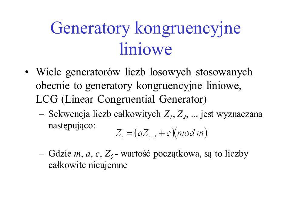 Generatory kongruencyjne liniowe Wiele generatorów liczb losowych stosowanych obecnie to generatory kongruencyjne liniowe, LCG (Linear Congruential Ge