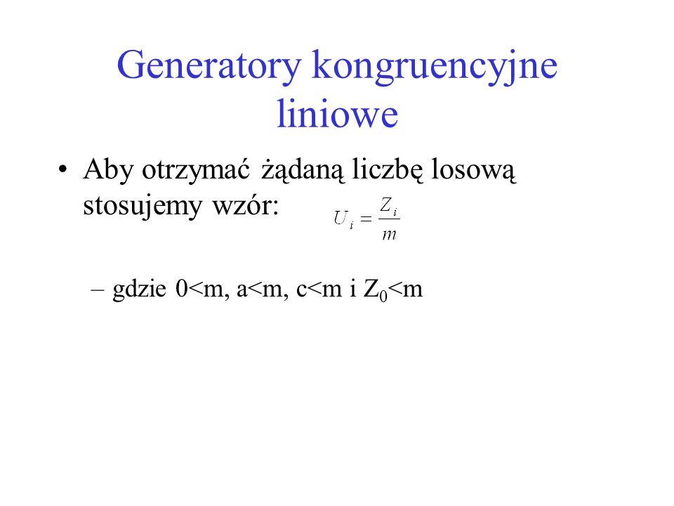 Generatory kongruencyjne liniowe Aby otrzymać żądaną liczbę losową stosujemy wzór: –gdzie 0<m, a<m, c<m i Z 0 <m