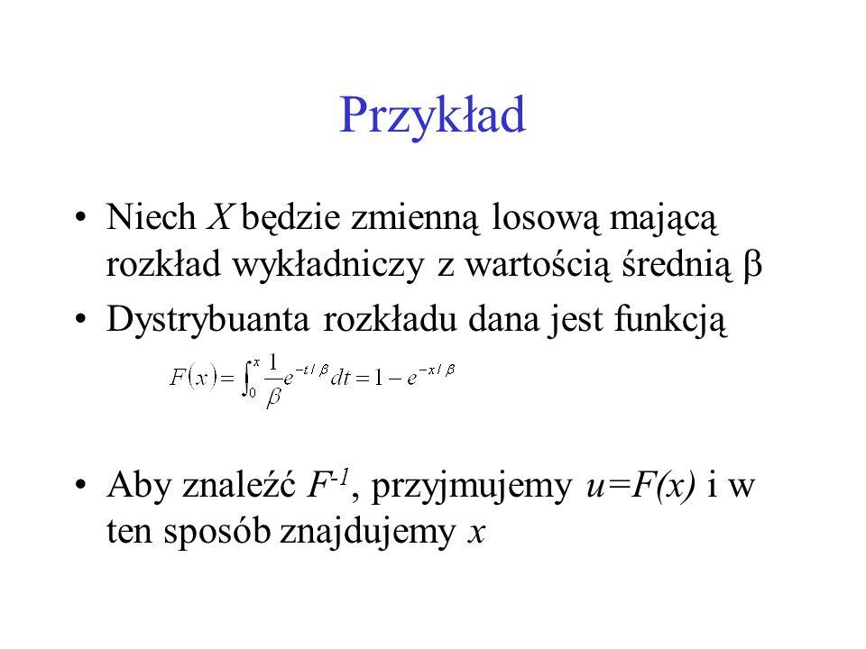 Przykład Niech X będzie zmienną losową mającą rozkład wykładniczy z wartością średnią Dystrybuanta rozkładu dana jest funkcją Aby znaleźć F -1, przyjm