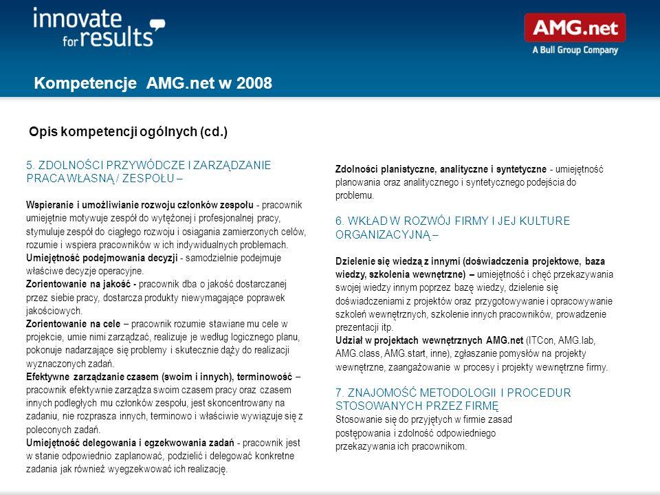Kompetencje AMG.net w 2008 Zdolności planistyczne, analityczne i syntetyczne - umiejętność planowania oraz analitycznego i syntetycznego podejścia do