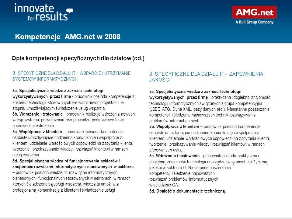 Kompetencje AMG.net w 2008 8. SPECYFICZNE DLA DZIAŁU IT - ZAPEWNIENIA JAKOŚCI 8a. Specjalistyczna wiedza z zakresu technologii wykorzystywanych przez