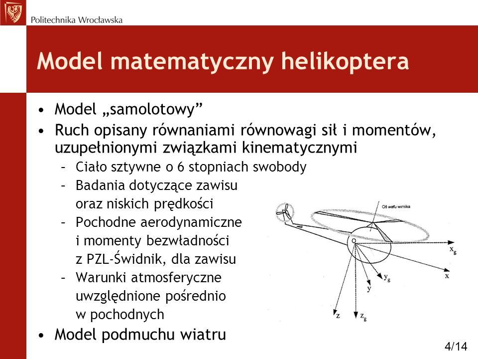 Model samolotowy Ruch opisany równaniami równowagi sił i momentów, uzupełnionymi związkami kinematycznymi –Ciało sztywne o 6 stopniach swobody –Badani